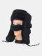 男性防寒ウィンタートラッパーハットコットン厚手のウィンターハット耳栓マスクトラッパーハット付き - ブラック