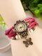 10 Colors Vintage Multilayer Women Watch Leather Band Butterfly Pendant Bracelet Watch - Rose
