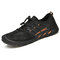 Mem Breathable Mesh Fabric Non Slip Lace-up Soft Hiking Water Shoes - Black