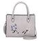 Women Embroidery Tote Handbag Leisure PU Leather Crossbody Bag - Gray