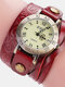 Vintage Cowhide Nicked Women Watch Roman Numeral Leather Circle Wrist Watch - Red