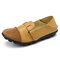 Large Size Women Splicing Leather Casual Hook Loop Soft Flat Loafers - Yellow