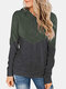 Patchwork Hooded Long Sleeve Casual Hoodies For Women - Green