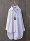 Two Tone Striped Asymmetrical Plus Size Shirt for Women - Blue