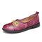 SOCOFY Leather Chinese Knot Tie-dyed Slip On Round Toe Flat Shoes - Purple