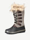 Women Solid Furry Warm Slip Resistant Cross Strap Mid Calf Snow Boots - Brown