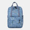 Women Waterproof Camo Print School Bag Travel Bag Backpack - Light Blue