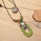 Retro Oval Hollow Wood Pendant Wax Rope Necklace Geometric Mask Multi-layer Necklace Sweater Chain - Green