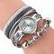 Cristal estilo casual mulheres pulseira de relógio de presente de couro pulseira de relógio de quartzo