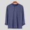 Mens Brief Style Solid Color Breathable Casual Long Sleeve Henley Shirts - Blue