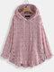 Blusa de punto con cordón irregular con estampado de arrugas Plus Blusa con capucha - Rosado