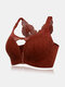 Plus Size Women Daisy Embroidered Beauty Back Front Closure Wireless Gather Bras - Wine Red