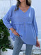 Solid Long Sleeve Fungus V-neck Button Women Blouse - Blue