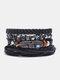 4個の多層レザーメンズブレスレットセット手織りツリーレターレディースビーズブレスレット - #27