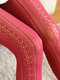 Women Nylon Lolita Lace Jacquard Hollow Breathable Pantyhose - Wine Red