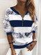 Vintage Printed Long Sleeve V-neck Zip Front Sweatshirt For Women - Blue