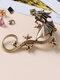 Three-dimensional Metal Dragon-Shaped Without Pierced Ear Hook Vintage Animal-Shape Women Earrings - Gold