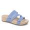 Plus Size Women Rhinestone Opened Toe Hook Loop Platform Casual Slide Sandals - Blue