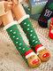 جوارب عيد الميلاد سانتا كلوز إلك للنساء Plus مخمل ينام جوارب أرضية عادية - أخضر