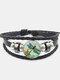 Vintage Dragonfly Calico Pattern Geometric-shape Hand-braided Beaded Glass PU Alloy Multi-layer Bracelet - #01