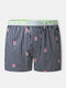 Striped Cotton Loose Letter Print Mid Waist Underpants Boxer Shorts For Men - Green