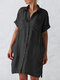 Solid Color Lapel Collar Button Shirt Dress With Pocket - Black