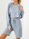 Solid Color Drawstring T-shirt Shorts Casual Sport Set for Women - Gray