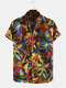 Mens Hawaii Style Leaf Printed Casual Breathable Short Sleeve Shirts - Brown