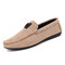 Men Nubuck Leather Slip-on Hand Stitching Casual Loafers Shoes - Khaki