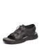 Men Super Light Weight Cowhide Leather Lace-up Hook Loop Outdoor Sandals - Black