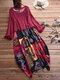 الاثنيه طباعة قطعتين فستان ماكسي للنساء