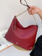 Simple Casual Color Block Quilted Exquisite Hardware Wearable Exquisite Stitch Detail Tote Handbag - Wine Red