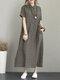 Vintage Umschlagkragen Seitentasche Kordelzug Kleid - Khaki