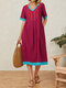 Flower Embroidery Contrast Color V-Neck Short Sleeve Midi Dress With Pocket - Wine Red