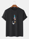 Mens 100% Cotton Solid Color Cartoon Astronaut Print Loose Thin T-Shirts - Black