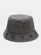 Unisex Washed Made-old Cotton Solid Color Letter Embroidery Love Pattern Fashion Sunscreen Bucket Hat - Black