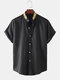 Mens Guilloche Printed Stand-up Collar Short Sleeves Shirts - Black