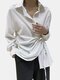 Solid Color Lace Up Turn-down Collar Long Sleeve Irregular Shirt - White