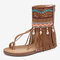 Embroidered Clip Toe Back Zipper Gladiator Sandals For Women - Brown