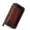 Men And Women Vintage Hand Brush Color Wallet Cow Leather Clutch Bag - Brown