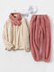 Women Contrast Double Plush Warm Crew Neck Elastic Cuff Comfy Pajamas Set With Scarf - Red