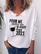 Casual Print Long Sleeve Plus Size T-shirt for Women - White