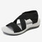 LOSTISY Cloth Opened Toe Cross Strap Casual Wedges Sandals - Black