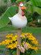庭の芸術の装飾チキンガーデン芝生プラグ編鶏の装飾品彫像エッジシーター屋内屋外裏庭の装飾 - 白い