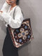 Casual Canvas Flower Print Pattern Multi-color Handbag Tote With Zipper Inner Pocket - #01