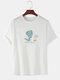Mens Funny Cartoon Dinosaur Print Solid Color Loose Casual O-Neck T-Shirts - White