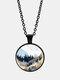 Trendy Metal Round Landscape Print Glass Pendant Necklace - Black