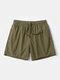 Men Quick Dry Shorts Drawstring Mesh Liner Solid Color Workout Beachwewar Swim Trunks - Army Green