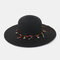 Fashion Wild Women Summer Sunscreen Straw Hats Beach Hat Shade Straw Hat Seaside Holiday Big Along Hat - Black