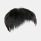 Men Hair Replacement Block Mediterranean Baldness Breathable Bangs Short Straight Human Hair Wig - Black